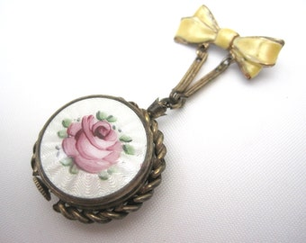 Vintage Guilloche Watch Brooch - 10kt Rolled Gold Plate