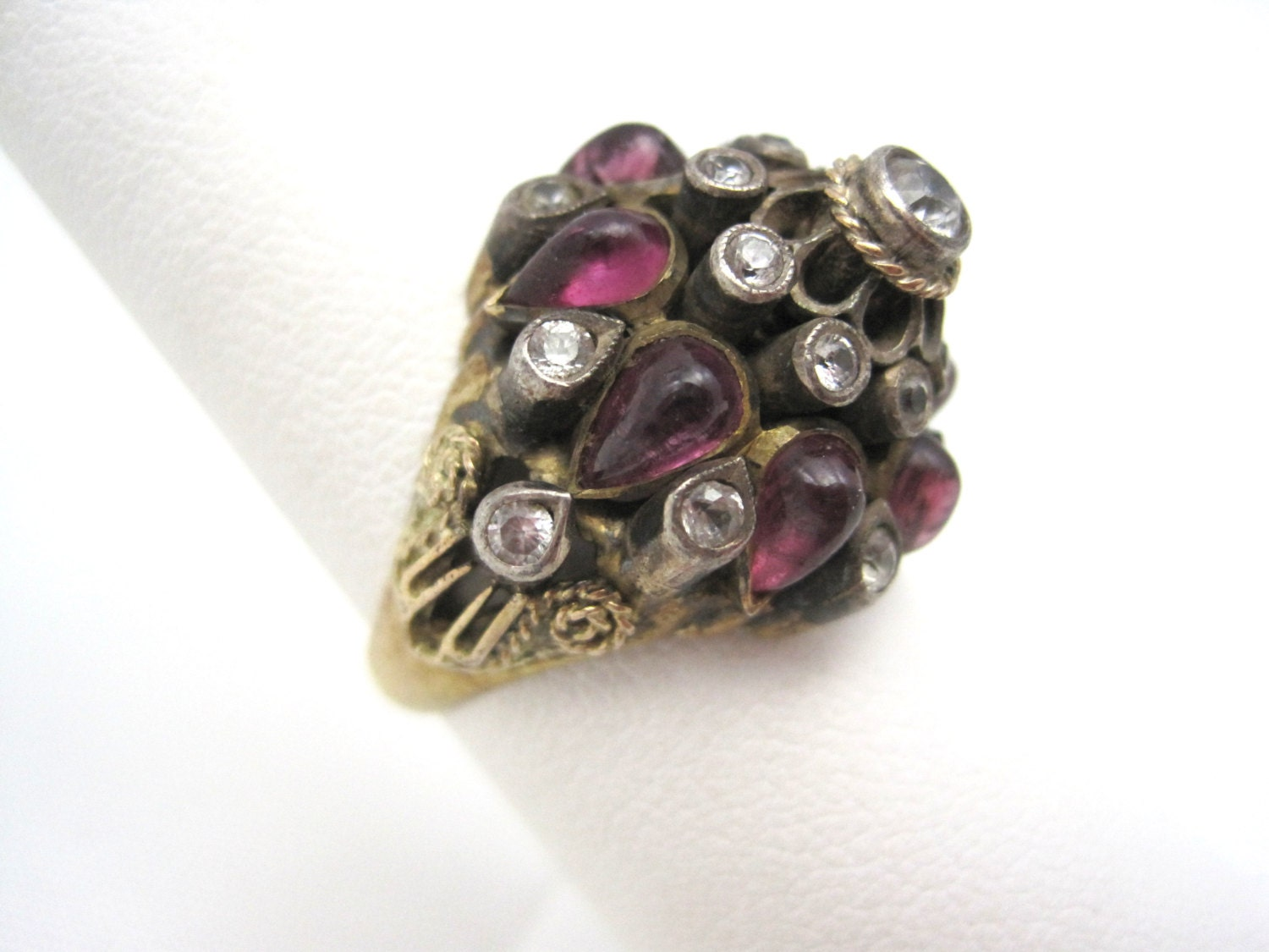 thai princess ring 14kt gold rubies white by vintageinbloom