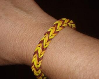 Rainbow Loom Fishtail Pattern Bracelet in maroon, yellow and orange
