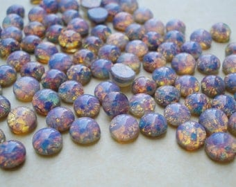 12 Vintage 5mm/22ss Fire Opal Harlequin Unfoiled Round Flat Back Glass Cabs