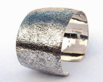 Sterling Bracelet Cuff, Corroded Look