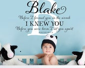 Before you were born I knew you... Personalized Wall Decal - with initial and name, nursery decor, monogram