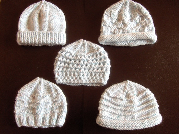 Knitting Pattern Central Preemie : Premature Small Baby Knitting Pattern For 5 Hats