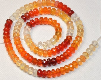"""4.8mm Shaded Mexican Fire Opal Faceted rondelle Beads 15"""" Strand"""