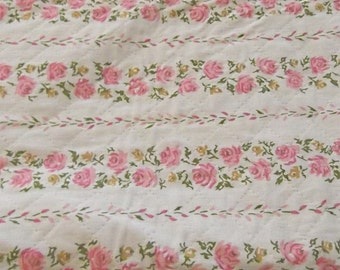 Vintage 60s,70s Quilted PINK ROSES Fabric, Rose, Sewing Craft, Quilt
