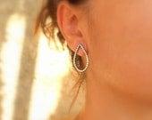 Large Tear Drop Beaded Studs Drop Post Earrings Everyday Studs Metalwork Sterling Silver