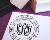 Monogram Round Customized Address Stamp,  Wooden Stamp, Self Inking Stamp, Wedding Gift, Monogram Address Stamp, Interlocking Monogram