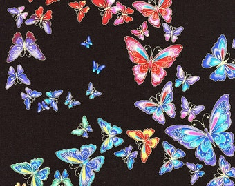 Butterflies Black Tiffany Timeless Treasures Fabric 1 yard
