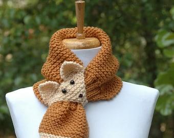 Golden Brown Knit Fox Scarf - Novelty Animal Keyhole Scarf - Original Design