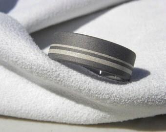 Titanium Ring with Silver Stripes Sandblasted Finish Wedding Band