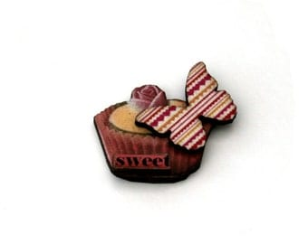 Sweet Cupcake Brooch, Butterfly Badge, Altered Art Jewelry, Mixed Media