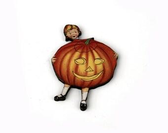 Jack O Lantern, Halloween Brooch, Pumpkin Brooch, Thanksgiving, Halloween Badge