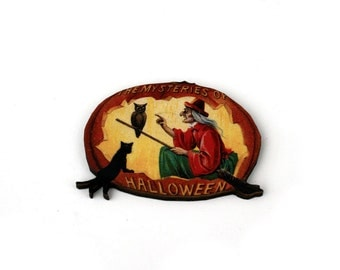 Halloween Brooch, Pumpkin Brooch,Witch Brooch, Black Cat Brooch, Halloween Badge