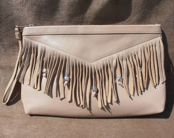 Vintage Taupe Fringe Leather with silvertone beads clutch purse by Etra