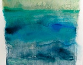 """Contemporary Modern Art - an Original Abstract Painting on watercolor paper 9.4"""" x 12.5""""."""