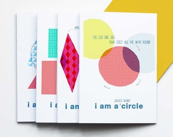 I Am A Shape - pack of 4 greetings cards