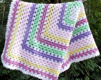 Crochet Granny Square Baby Blanket Baby Girl Baby Gift Carseat Blankie Lovey Photo Prop Pink Purple Green White Striped Afghan READY TO SHIP