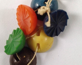Colorful vintage buttons on a string!