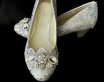 Silver Wedding Shoes .. Silver Lace .. Silver Lacy Shoes.. Low Heel Shoes... Comfy Bridal Shoes.. Silver Low Heel Shoes