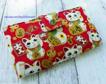 Handmade Long Wallet  BiFold Clutch - Vegan Wallet - large maneki neko red lucky cat or half size unisex wallet