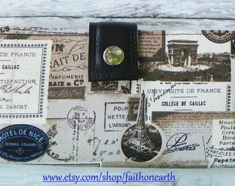 Handmade Long Wallet  BiFold Clutch - Vegan Wallet - Paris France Collage