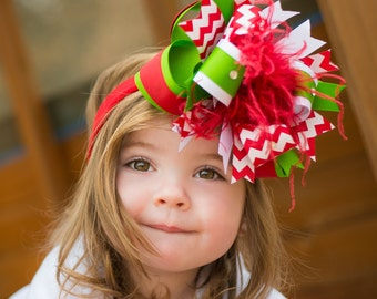Over the Top Bows,Christmas Baby Headband,Baby Headbands,Baby Headband,Christmas Bows,Baby Girl Headband,Red Green Headband, Girls Headband