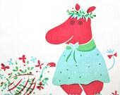 Vintage hand printed Moomin fabric panel - A PIECE