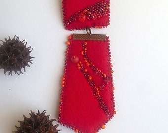 SALE Red medal pin, mixed media statement pin, marked down 50%, bead embroidery, red felt, eco-friendly