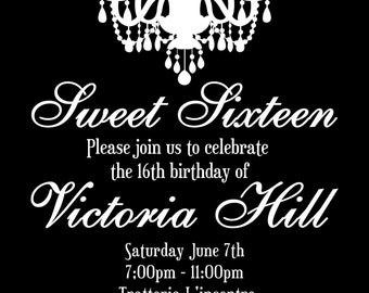 Sweet Sixteen Birthday Invitation / Black and White Chandelier / Sweet 16 Invite