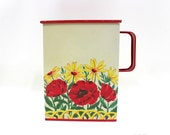1950s Tin, Red Poppys, Slide Lid, Vintage Storage Container