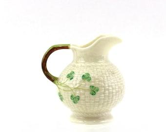 Irish Clover Pitcher by Belleek, 1970s Era Fine Porcelain