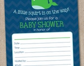 Instant Download Baby Shower Invitation Nautical Green & Blue Whale Printable PDF for Boys or Girls