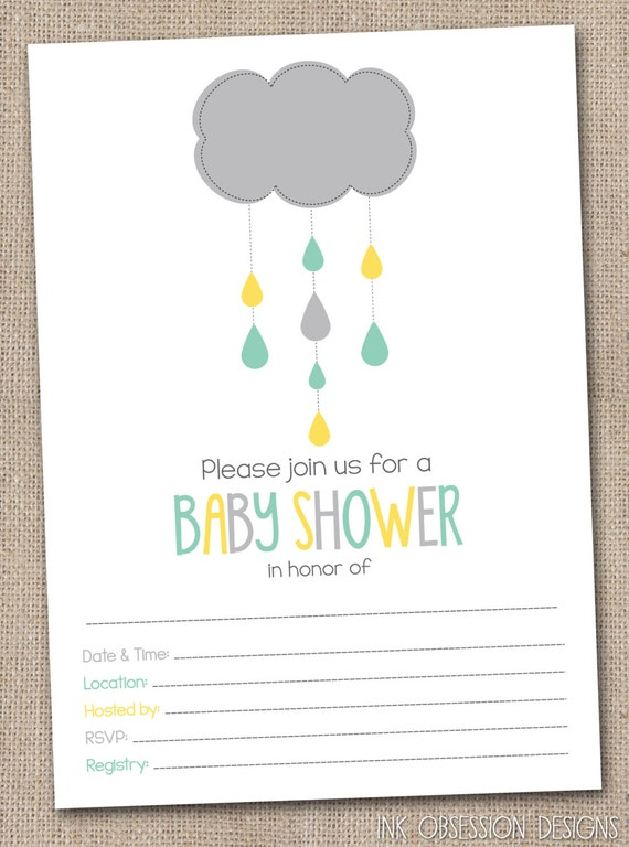 fill in baby shower invitations aqua blue yellow gray shower cloud