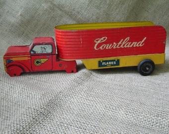 Vintage Courtland Tin Litho Truck Trailer 1950s  Farmhouse Chic