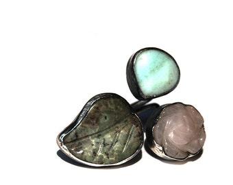 Aventurine drop, leaf carved Jade and pink quartz Silver Ring