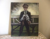 Man with Owls, Original Painting, Birds, Brown, Sepia, Umber, Pets, Man in a Hat, Man in a Suit, Park Bench. Surreal, Two Owls
