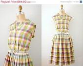 ON SALE 40s dress / Vintage 40s Pastel Plaid Silk Day Dress w/ Belt