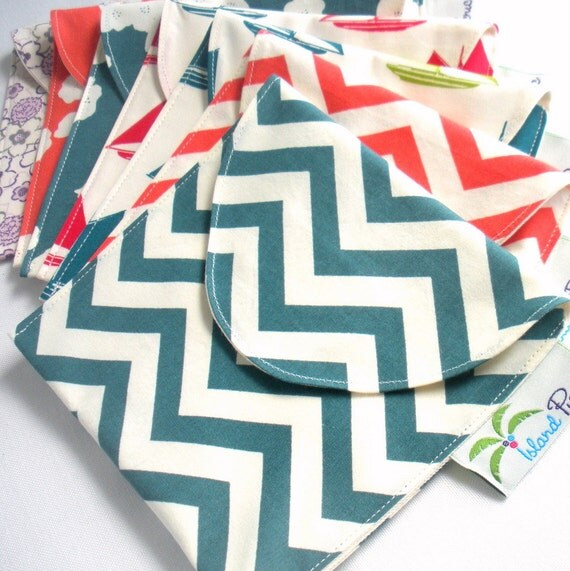 6 Reusable Eco Sandwich/Snack Bags - Completely Organic Cotton - Choose your colors and sizes - Back to School