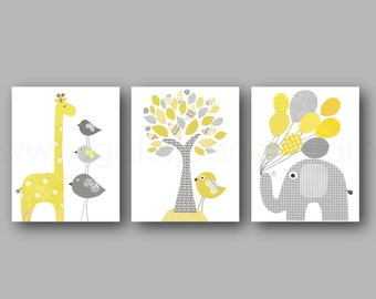 Popular items for nursery decor yellow on etsy for Stickers elephant chambre bebe