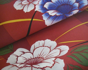 Vintage cotton Yukata Japanese kimono fabric (flower,red)never used