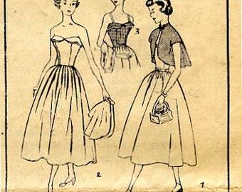 1950 Sun Dress and Bolero Vintage Simplicity Pattern 3124 for Fit & Flare Sun Dress has Boned Bodice, Bolero has Cap Sleeves  Sz 11 Bust 29