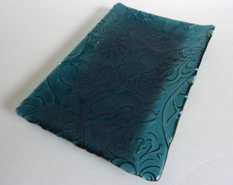 Fused Glass Art Nouveau Imprinted Tray in Dark Aquamarine Blue
