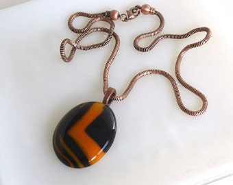 Layered Black and Orange Fused Glass Pendant with Copper Chain by BPRDesigns