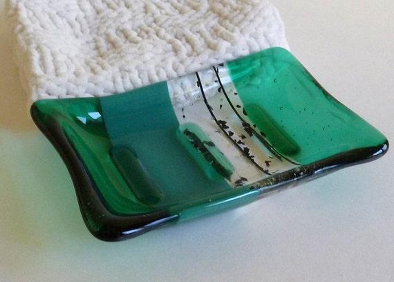 Fused Glass Soap Dish in Emerald Green
