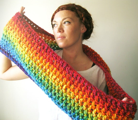 READY TO SHIP Rainbow Scarf. Bright & Colorful Chunky Infinity Cowl Circle Scarf