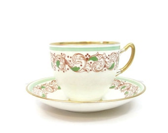 Tea Cup and Saucer Adderley Green and Gold Bone China -  Tea Party