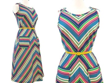 70s Sun Dress Vintage Rainbow Chevron Stripe Cotton Sundress M