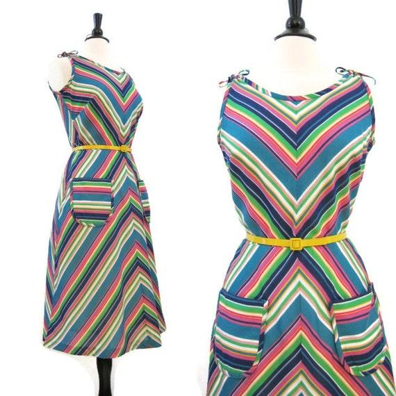 70s Sun Dress Vintage Rainbow Chevron Stripe Cotton Sundress M