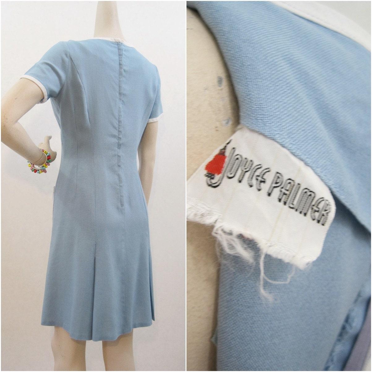 Vintage 60s Dress Mod Blue Scooter Dress White By Voguevintage