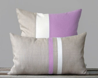 Radiant Orchid Pillow Set - (12x20) Stripe and (20x20) Color Block  by JillianReneDecor | Modern Home Decor | Lavender | Purple Pillows